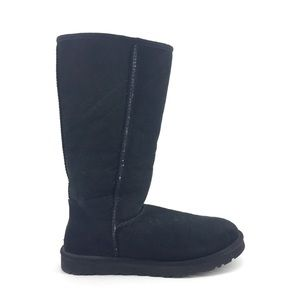 Ugg Tall Boots Size 9 Black Suede Fur Shearling